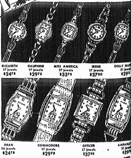 1940 Bulova watch advert