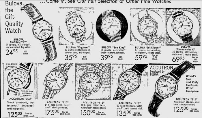 1965 Bulova watch advert, Engineer, Sea King, Jet Clipper, Accutron
