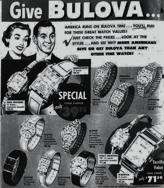 1953 Bulova watch advert