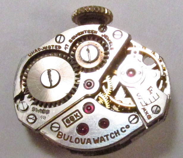 Movement 6BK, 48 1948 date code, 17 jewels, Swiss made.
