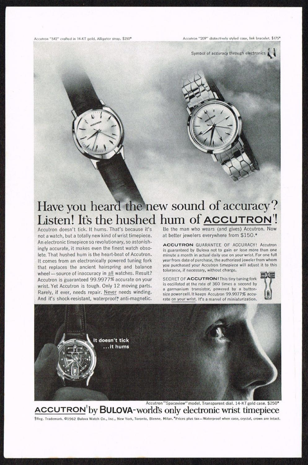 "1962 Vintage Bulova Accutron ""542"" & ""209"" Advert"
