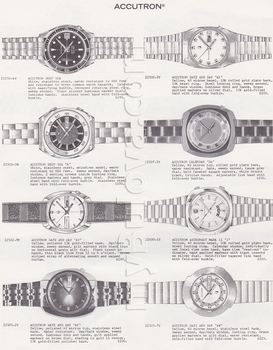 Accutron watches including the Deep Sea