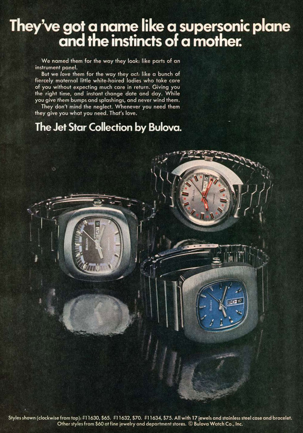 1973 Vintage Bulova Jet Star Collection Ad - Courtesy of Geoffrey Baker
