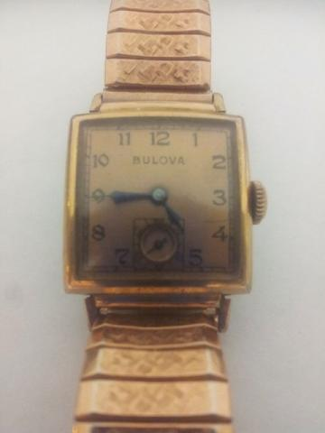 1942 Bulova square 14K Rolled Gold (Rose) subsecond 10AK 21J 2162385