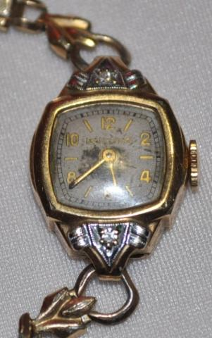 1930 or 1940 Bulova watch with two diamonds 7-25-12
