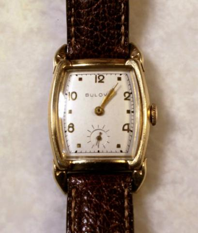 "1954 Bulova Ambassador ""B"" watch with water buffalo straps"