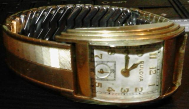 1938? Bulova Rite Angle running watch, movement unknown, engraving on case back